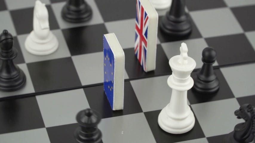 vita : The concept of political game and chess strategy Brexit Stock mozgókép