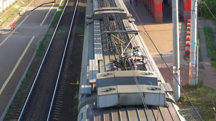passenger train on the railway, top view Stok Video