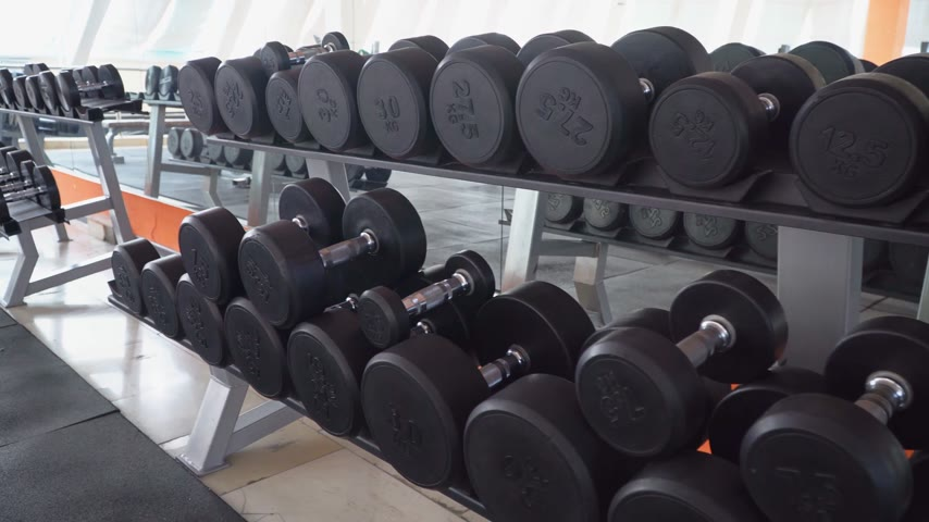 burro : row of dumbbells in a modern gym Vídeos