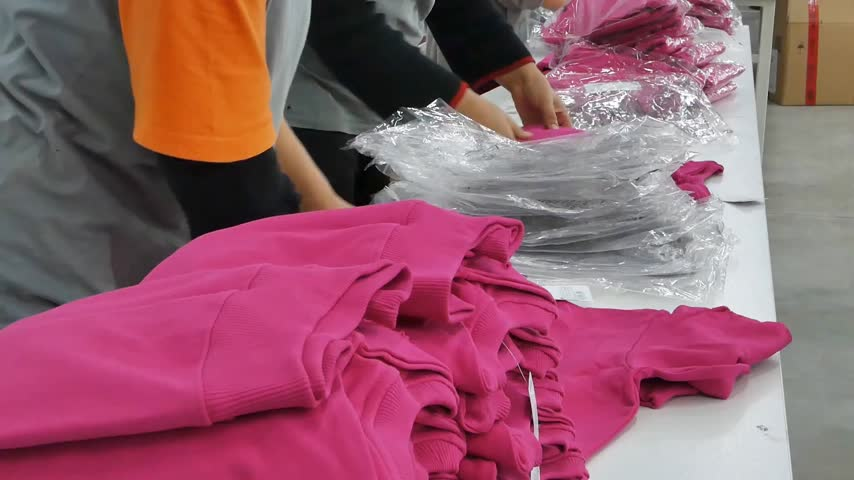 összeg : Quality control of garments in textile factory. Workers in the process of packaging textile products