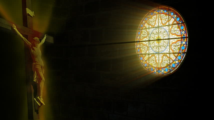 religioso : Church stained glass and Jesus,sun shine