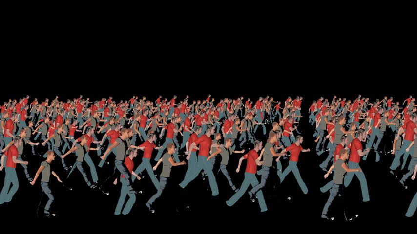 белый : Crowd silhouettes illustration walking, camera fly over
