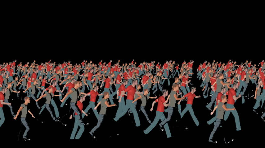 schritt : Crowd Silhouetten Illustration Walking, Schleife Videos