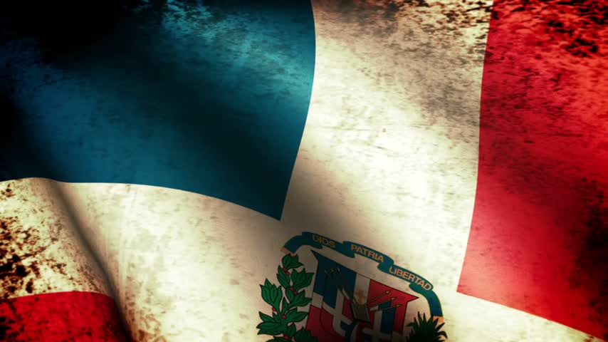 dominikana : Dominican Republic Flag Waving, grunge look