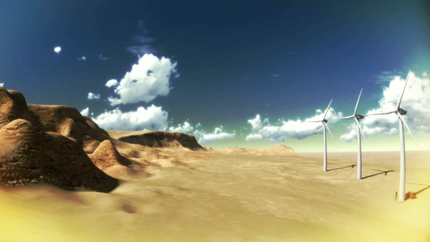 táj : Dry desert with time lapse clouds and windmills wide angle