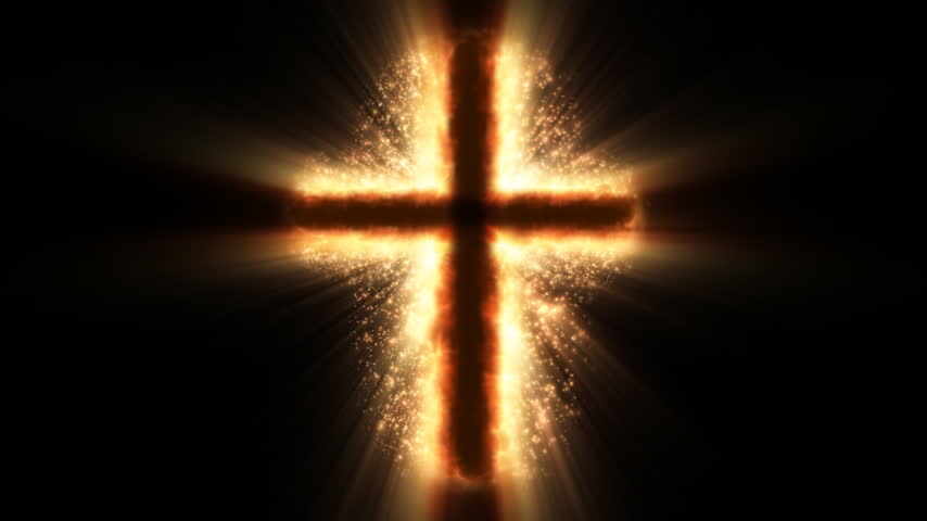 religioso : Religious cross on fire and sparkles