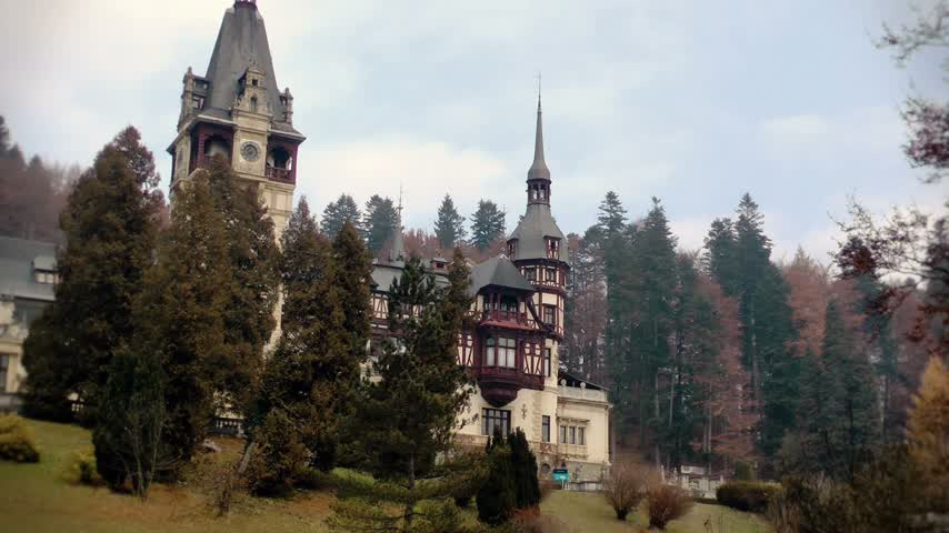 historical building : Peles Castle zoom out,Sinaia,Romania Stock Footage