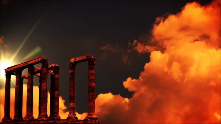 chrámy : Roman columns at sunset, time lapse