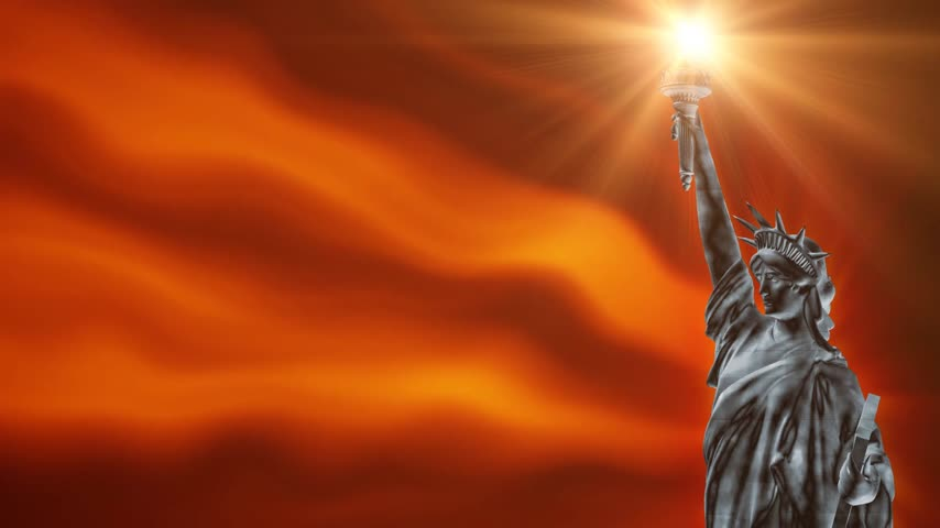 heykel : Statue of Liberty with fire background waving, loop