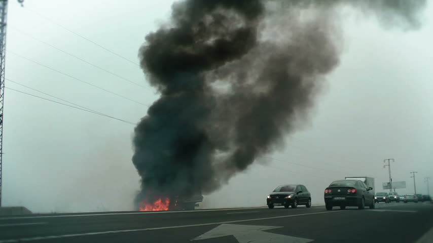 broken crash : Traffic and Car on Fire