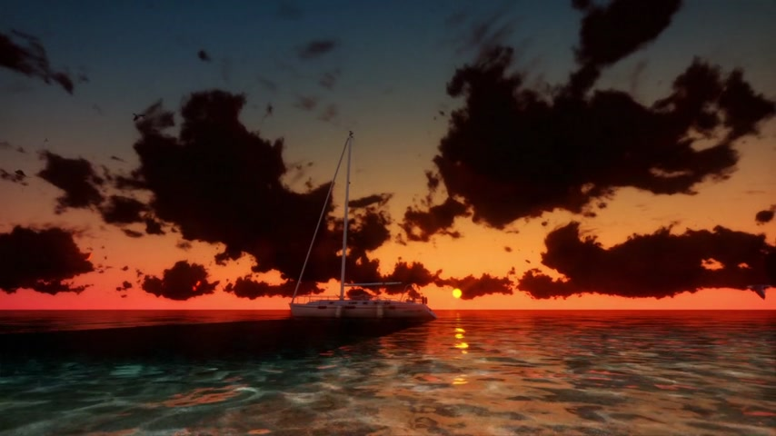 amantes : Yacht at Sunset with Time Lapse Clouds