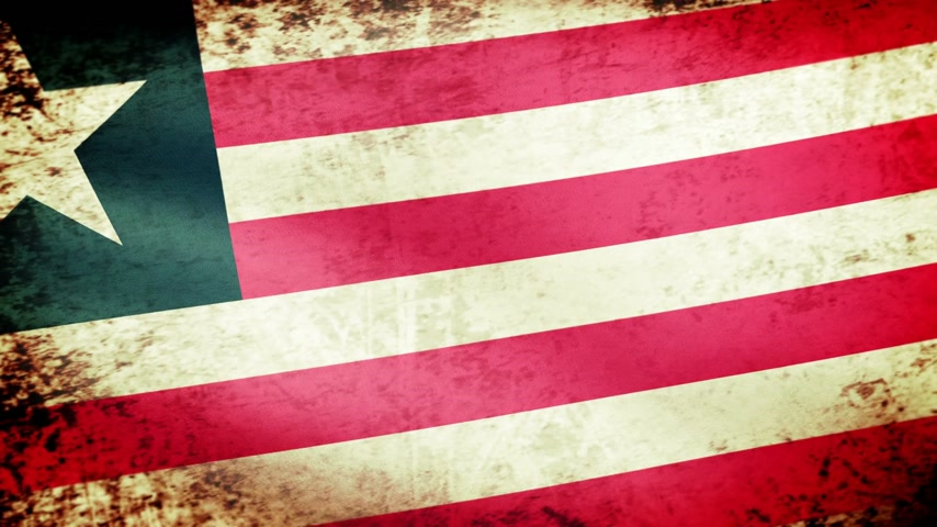 иммиграция : Liberia Flag Waving, grunge look Стоковые видеозаписи