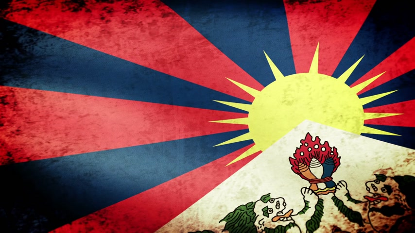 tybet : Tibet Flag Waving, grunge look  Wideo