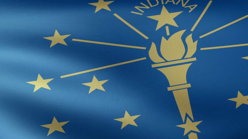 devletler : Indiana State Flag Waving Stok Video