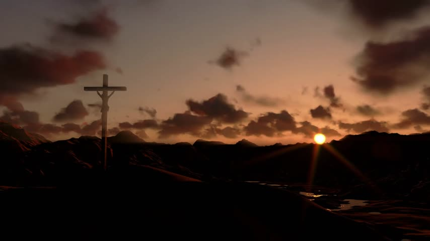 çapraz : Jesus on Cross, timelapse sunset