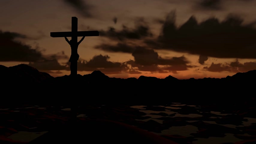 jézus : Jesus on Cross, timelapse sunrise, camera fly