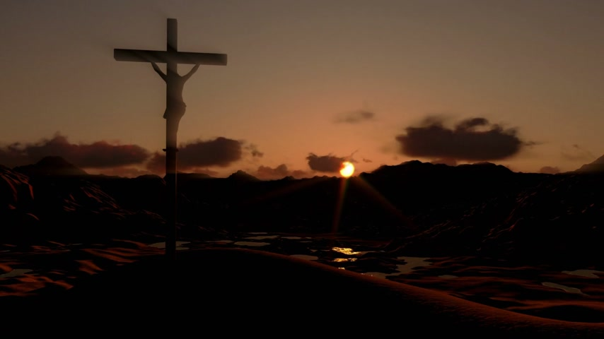 crucifixo : Jesus on Cross, timelapse clouds at sunset