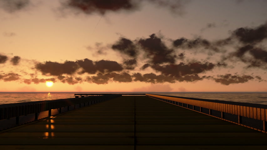 şafak : Pier in Ocean at sunset, time lapse clouds Stok Video