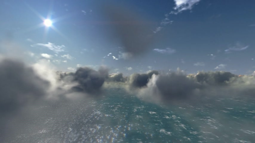 copter : Flying above clouds and ocean