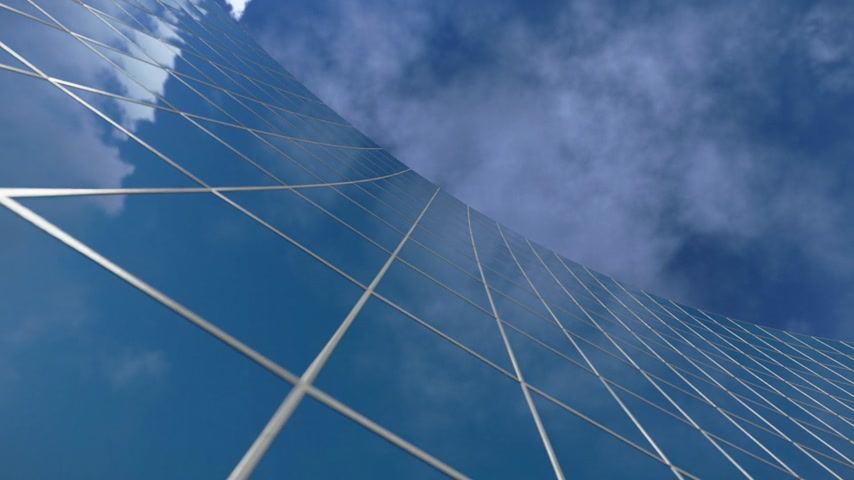 uzun boylu : Curved Office Building and Time Lapse Clouds