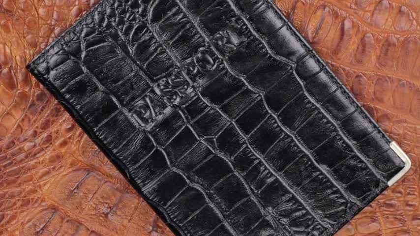 jacaré : Rotation, close-up black cover for passport, lying on brown crocodile skin.