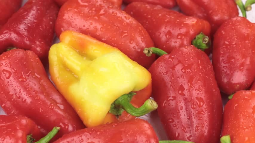 capsicum : Rotation of natural ripe yellow peppers in drops of dew. Food