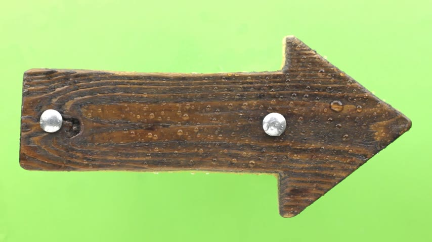 perçin : Raindrops fall on a wooden signpost, isolated on green. Stok Video