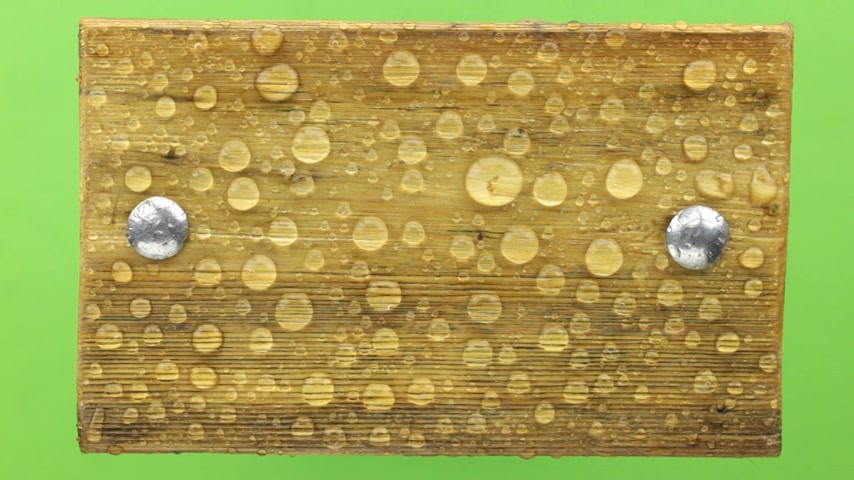 perçin : Wind shakes water drops on a wooden board with iron bolts, isolated. Stok Video