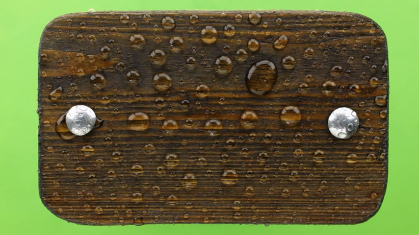 szegecs : Wind blows on raindrops on a dark wooden board with iron bolts. Isolated on green background.