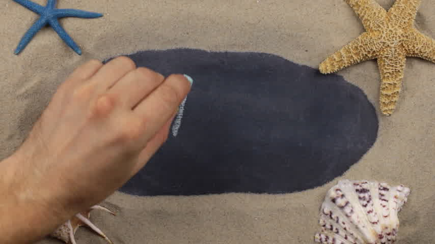 starfish : Handwritten word ALANYA written in chalk, among seashells and stars. Top view. Stock Footage