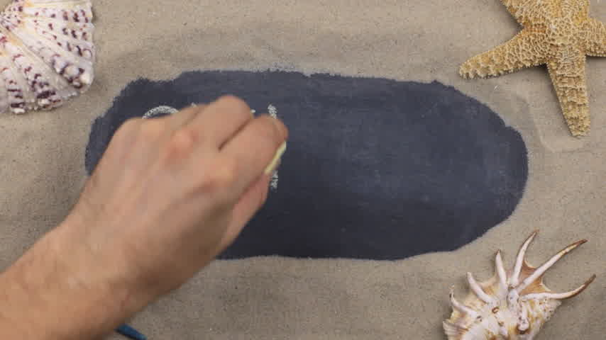 seashell : Handwritten word CYPRUS written in chalk, among seashells and stars. Top view. Stock Footage