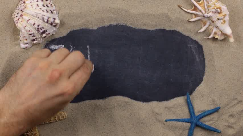 fráze : Handwritten word ZANZIBAR written in chalk, among seashells and stars. Top view.