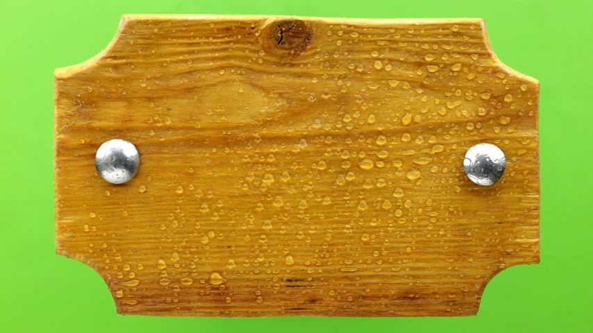 プラーク : Top view. Drops of water falling on a wooden board with iron bolts. Isolated
