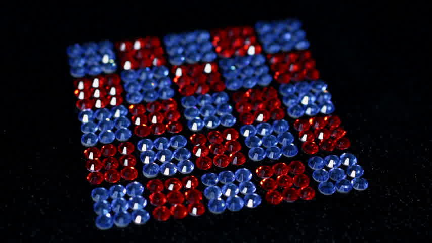 women's : Rotation of red and blue squares made of rhinestones.