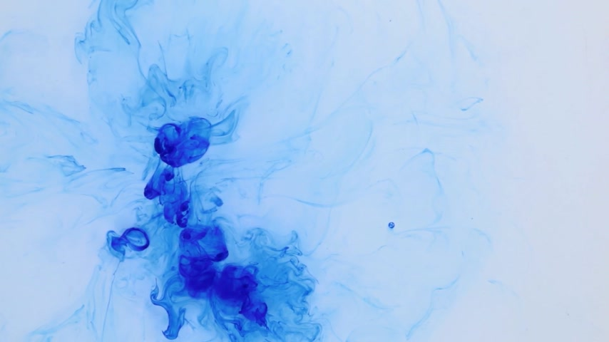 pigment spots : Top view, the chaotic falling of blue paint droplets. Abstract