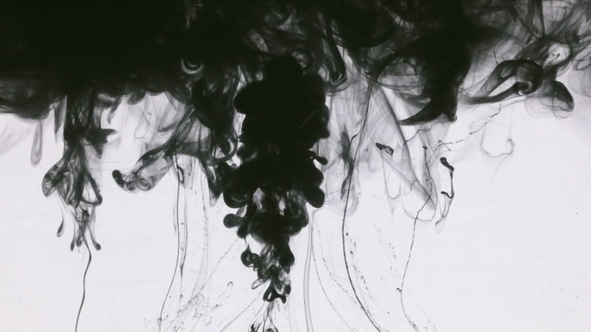 bica : Many paint streams in water, black monochrome ink Stock Footage