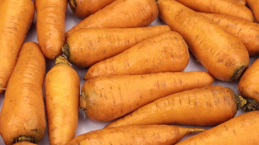 ropogós : Close-up, rotation of whole carrot tubers.
