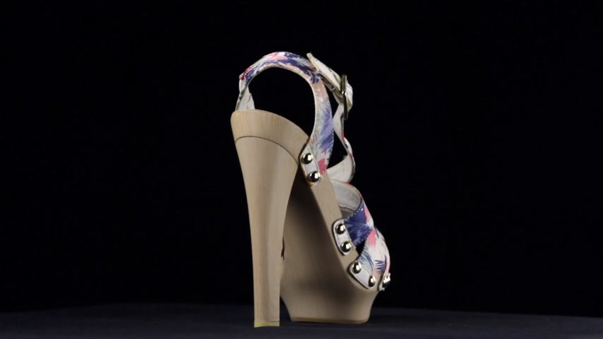 sandalo : Rotation, sandals with high heels. Blue pink high heel shoes on black background. Filmati Stock