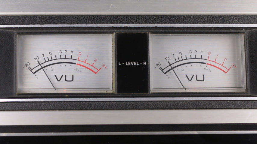 Close-up. Analog arrow indicator on the panel. Old analog arrow indicators stereo tape recorder. Stock Footage