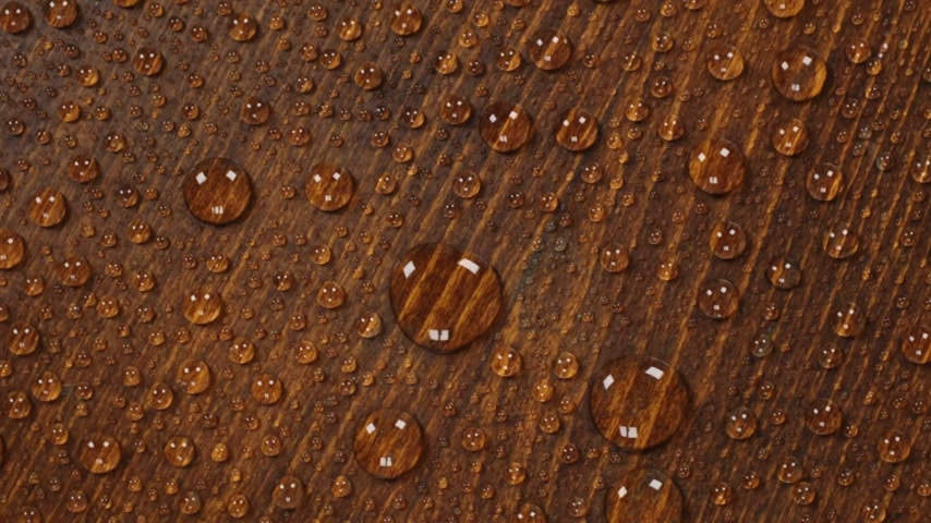 Brown wooden texture background in raindrops. Rotation. Brown wety wood surface. Stok Video