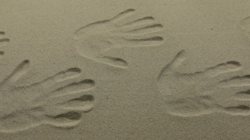 Imprint of many human hands on the sand,