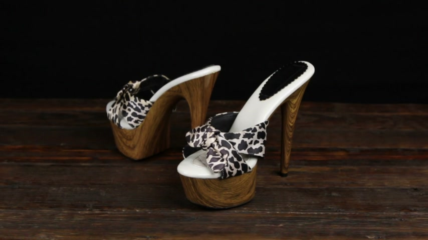 dois objetos : Leopard clogs with high heels and a platform on a wooden background.