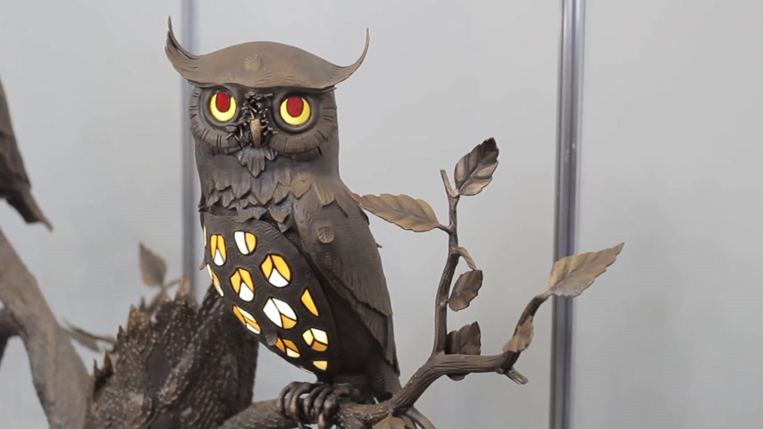 collectible : Metal decorating owl Handmade decoration owl