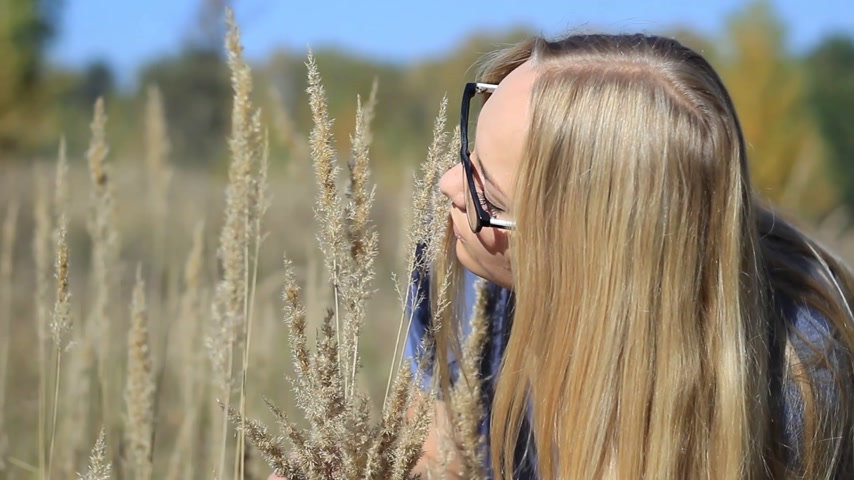 warm autumn : girl in the forest with ears of grass Stock Footage