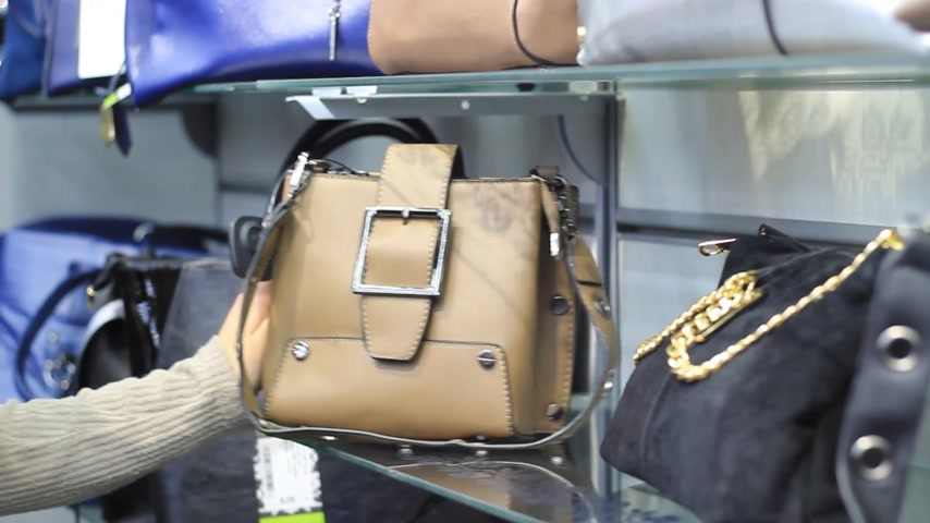 kavrama : Womens hands in the store choose a backpack
