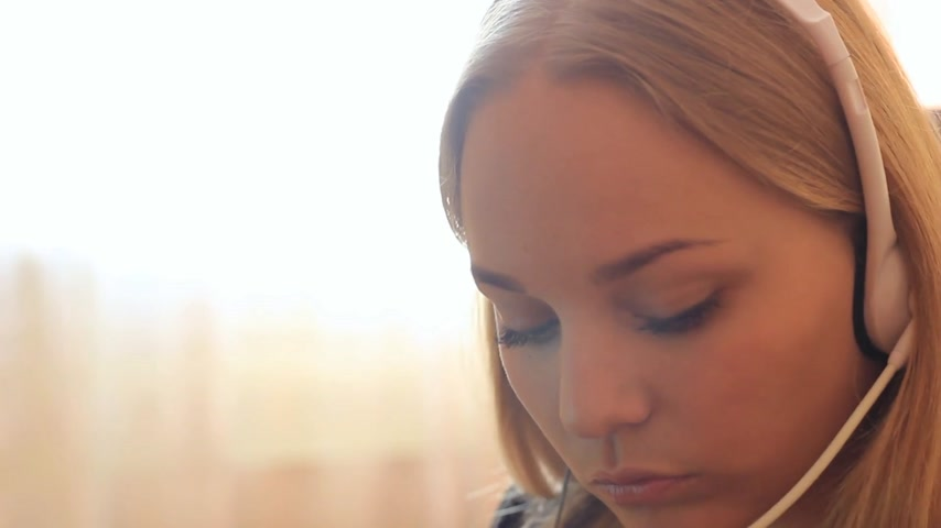 earpiece : girl communicates using headset.