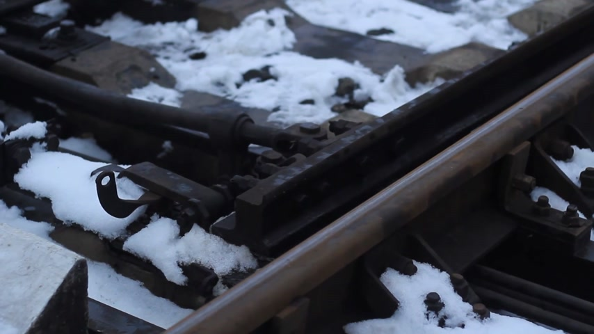 railway tracks close up in thick fog Stock Footage