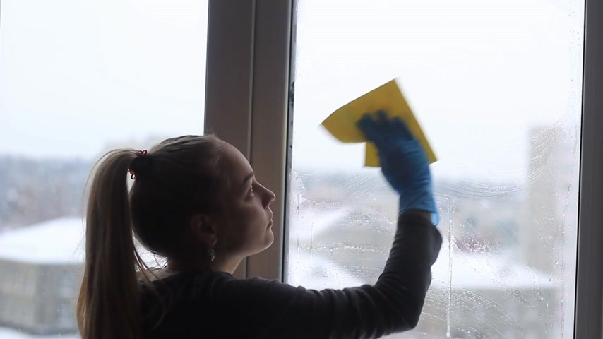 ev işi : girl washes a window in the apartment.