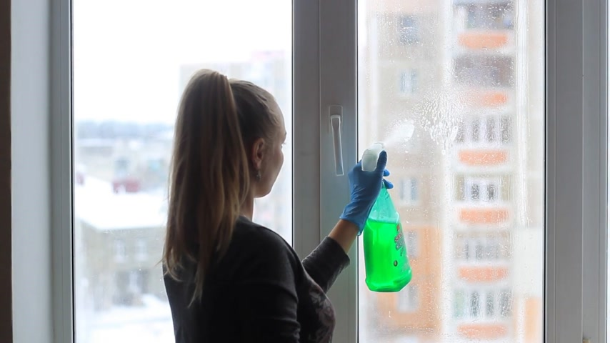 trapo : girl washes a window in the apartment Vídeos