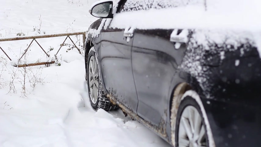 icy : side windows of a car in the snow close up Stock Footage